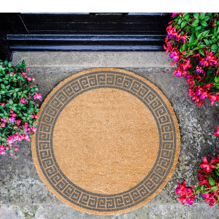 Greek Border Circle Doormat, Grey