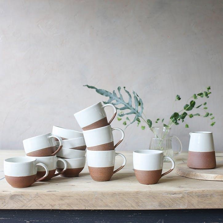 Mali Coffee Mug; White and Terracotta