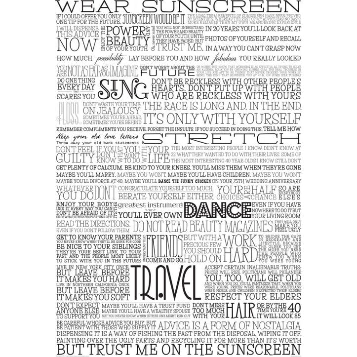 Sunscreen Print, Black & White