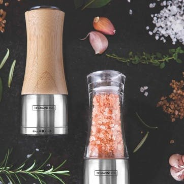 Salt and Pepper Mill Set, Stainless Steel & Bamboo
