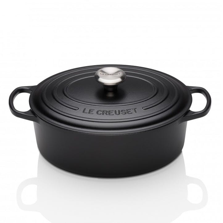 Cast Iron Oval Casserole - 27cm; Satin Black