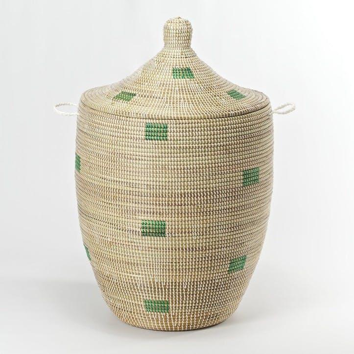 Ali Baba Laundry Basket, Medium, Natural/ Green Squares