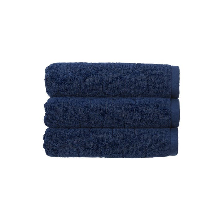 Honeycomb Pair of Bath Towels, Navy