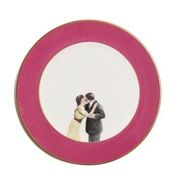 Modern Surrealist Kissing Couple Dinner Plate, Raspberry Pink