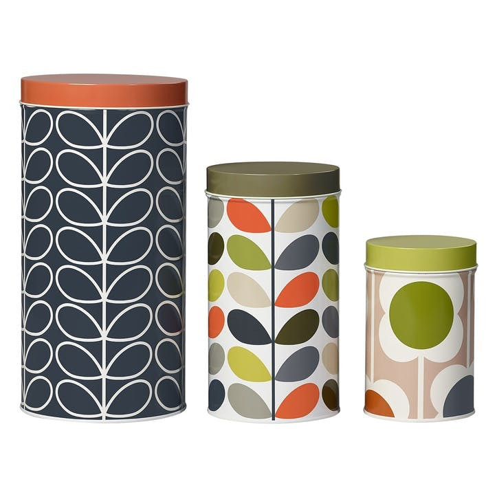 Assorted Prints Set of 3 Tin Canisters