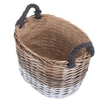 Large Oval Triple Tone Chunky Storage Basket
