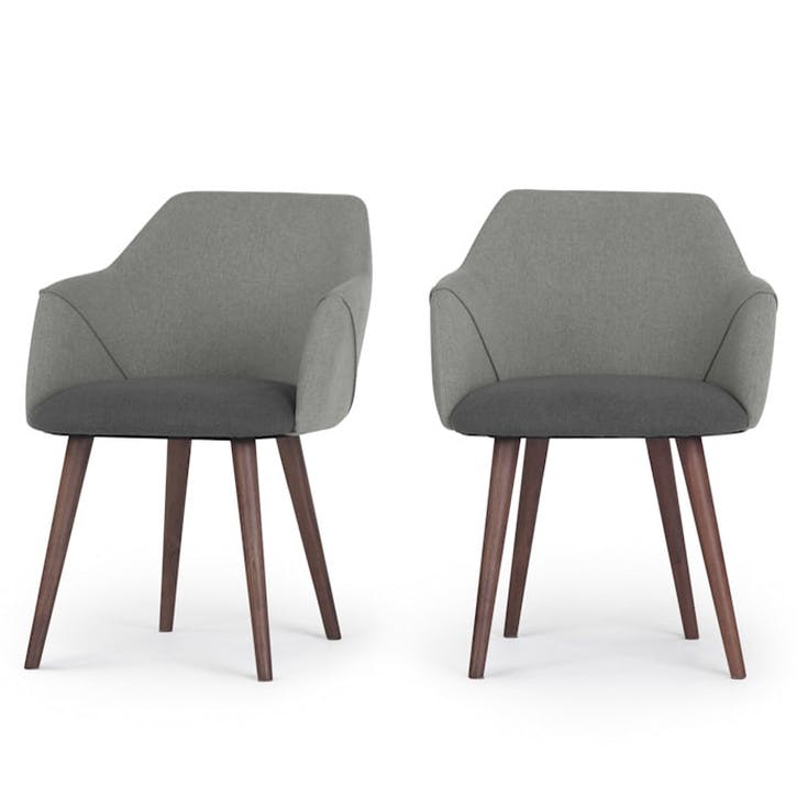Lule Set of 2 Carver Dining Chairs; Marl/ Hail Grey