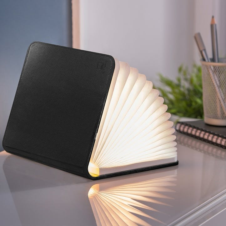 LED Smart Book Light, Standard, Black Leather