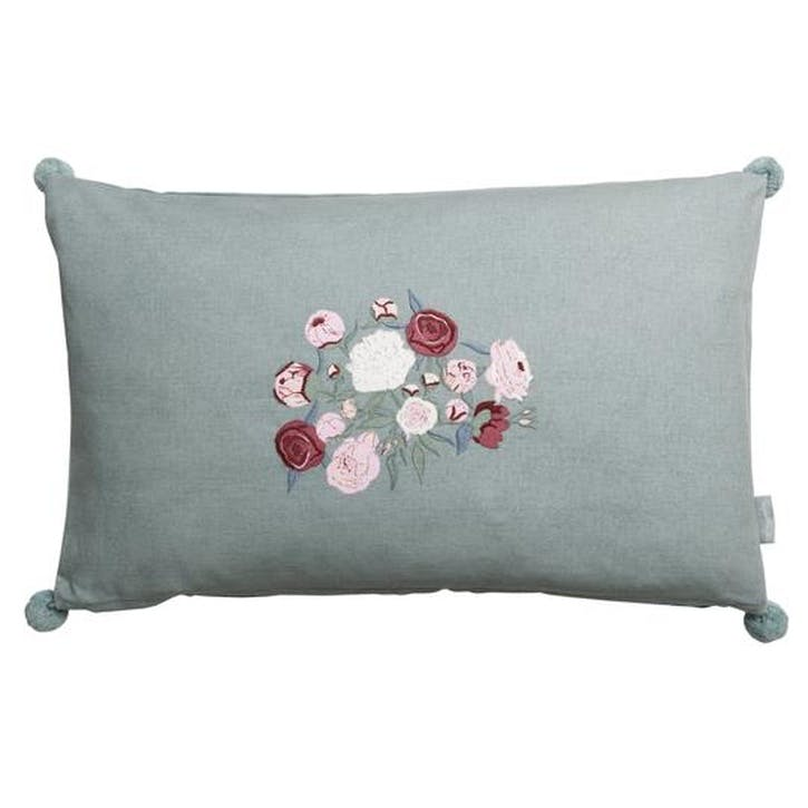'Peony' Embroidered Cushion