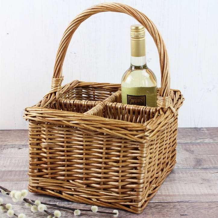 Buff Wicker 4 Bottle Basket