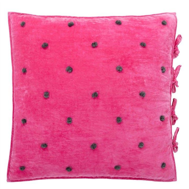 Sevanti Fuchsia Cushion with Pom Poms