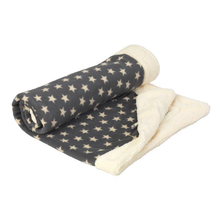 Star Print Fleece Blanket, Grey