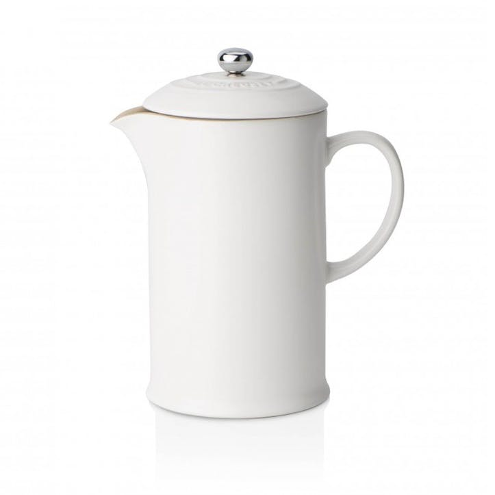 Stoneware Cafetiere with Metal Press; Cotton