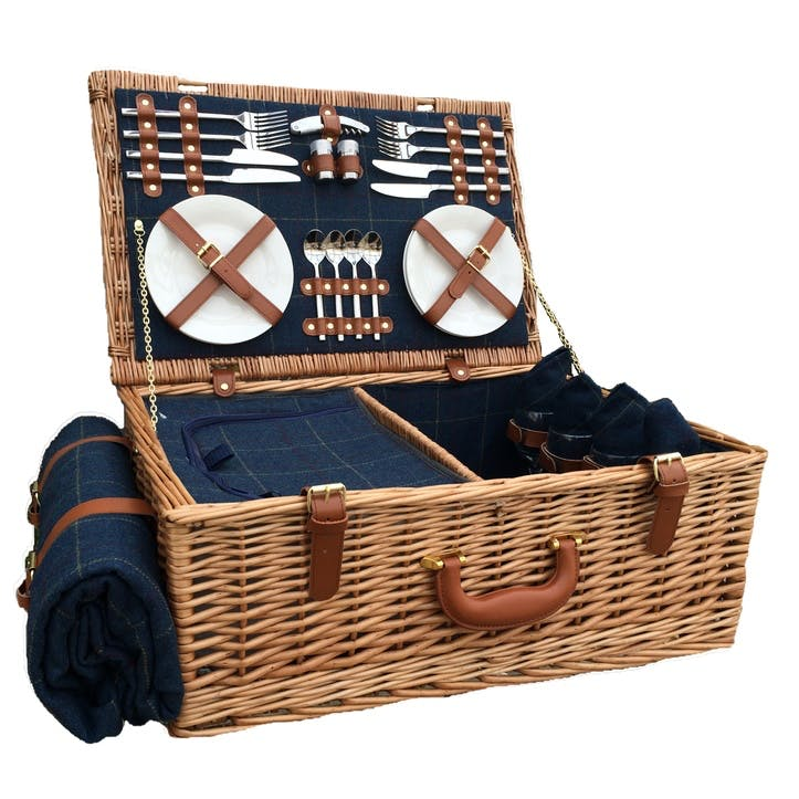 4 Person Blue Tweed Hamper