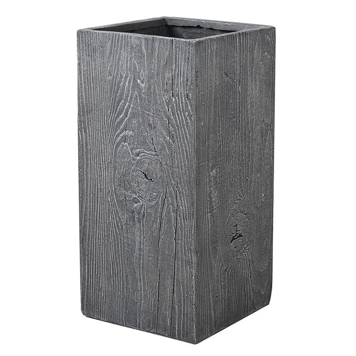 Tall Wooden Effect Planter, Grey