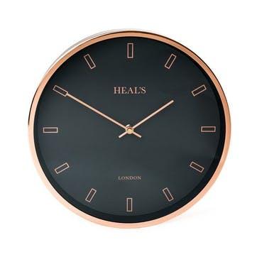Wall Clock, 30cm, Black & Copper