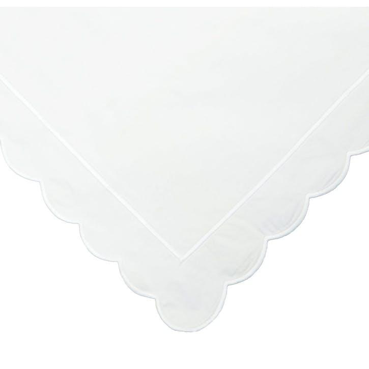 White Scalloped Super King Size Duvet Cover