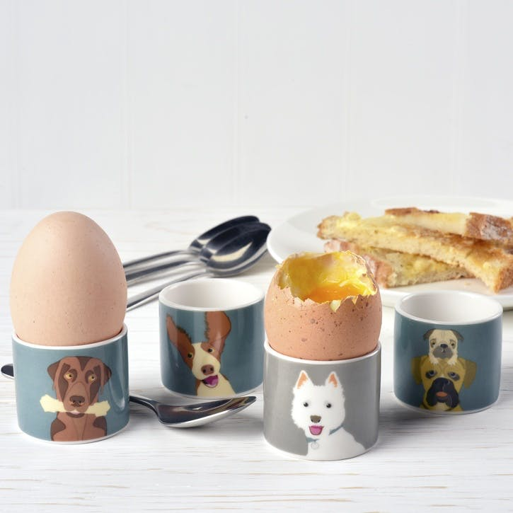 Creatureware 'The Rabble' Dog Set of 4 Fine Chine Egg Cups