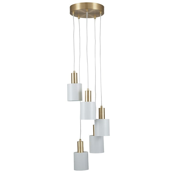 Addison 5 Drop Electrified Pendant; White & Brass