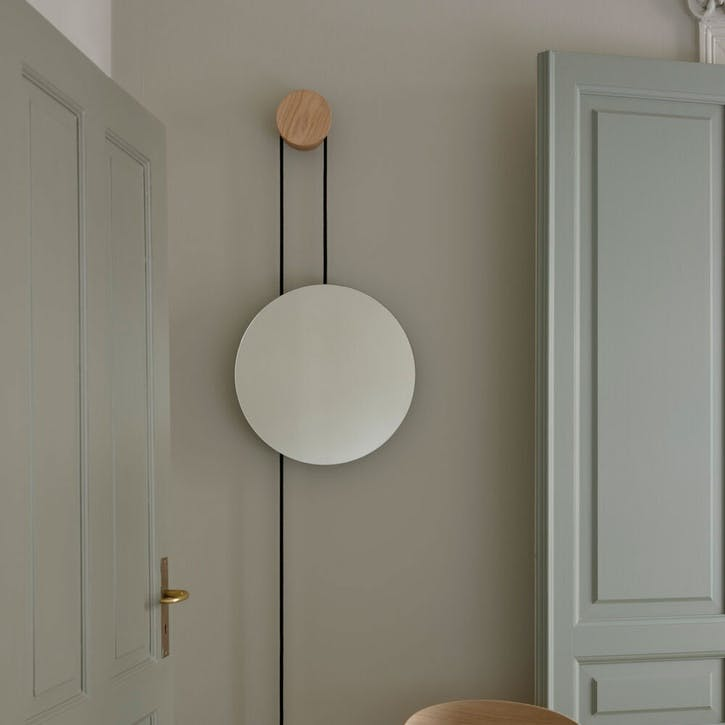 Rise and Shine, Wall Mirror, W45 x D45cm, Natural Oak with Brass Weight