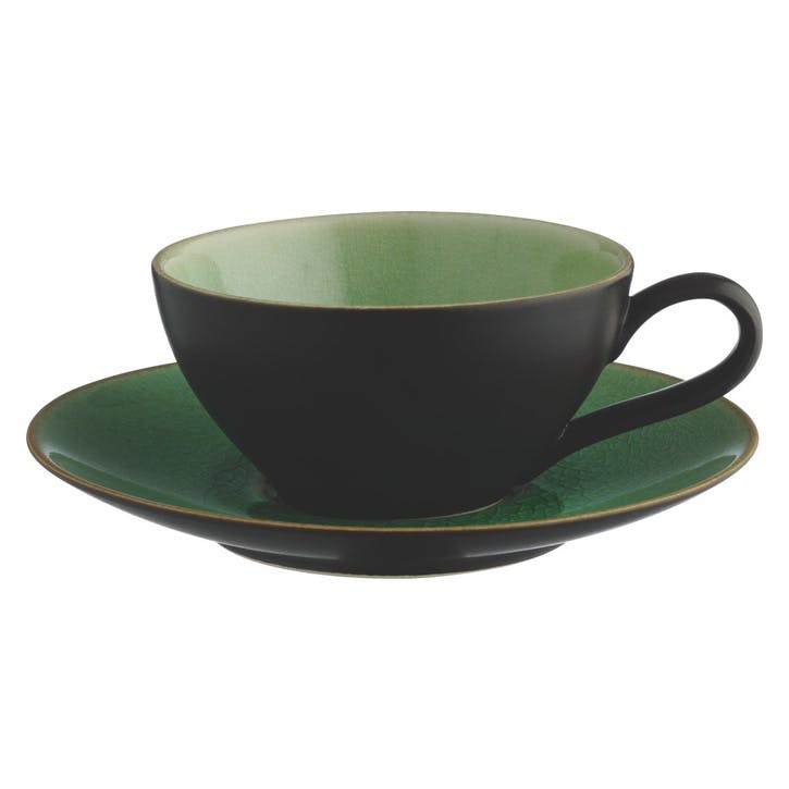 Sintra Teacup And Saucer, Black and Green