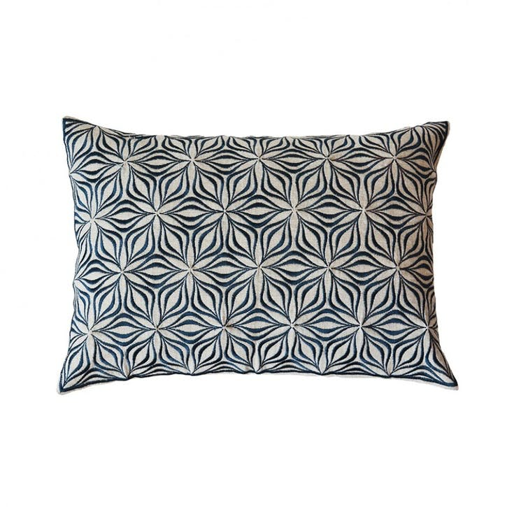 Martha Geometric Cushion - 50cm; Charcoal on Linen