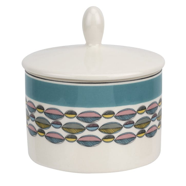 Westerly Covered Sugar Pot; Turquoise Band