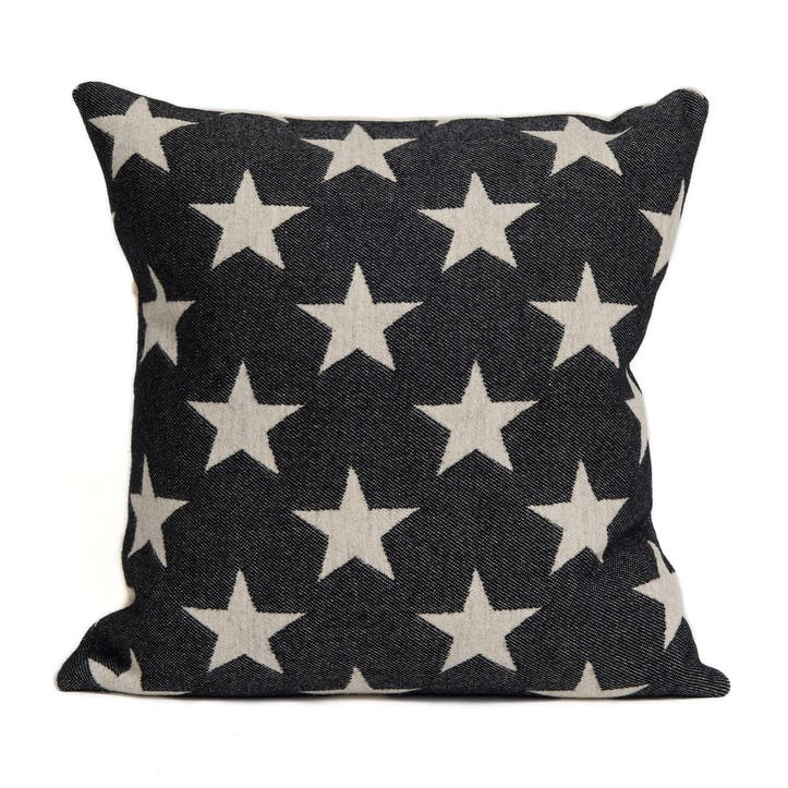 Antares Star Cushion Linen On Black, 40cm