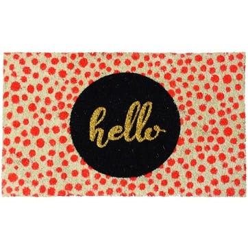 Neon Spots Hello Doormat, 75 x 45cm