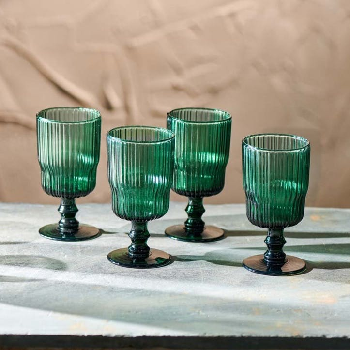 Set of 4 Fali Wine Glass, Teal