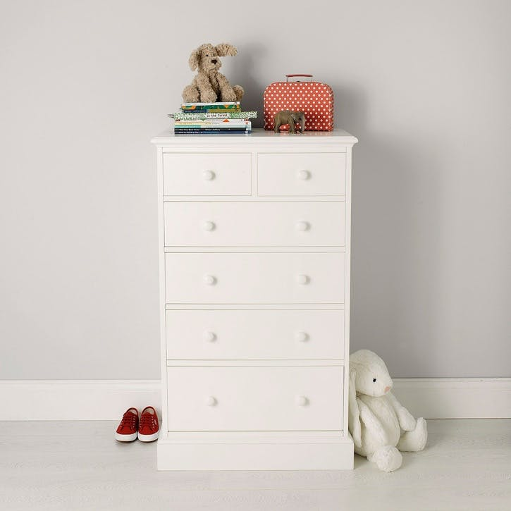 Classic Tallboy Chest Of Drawers, White