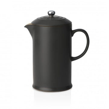 Stoneware Cafetiere with Metal Press; Satin Black
