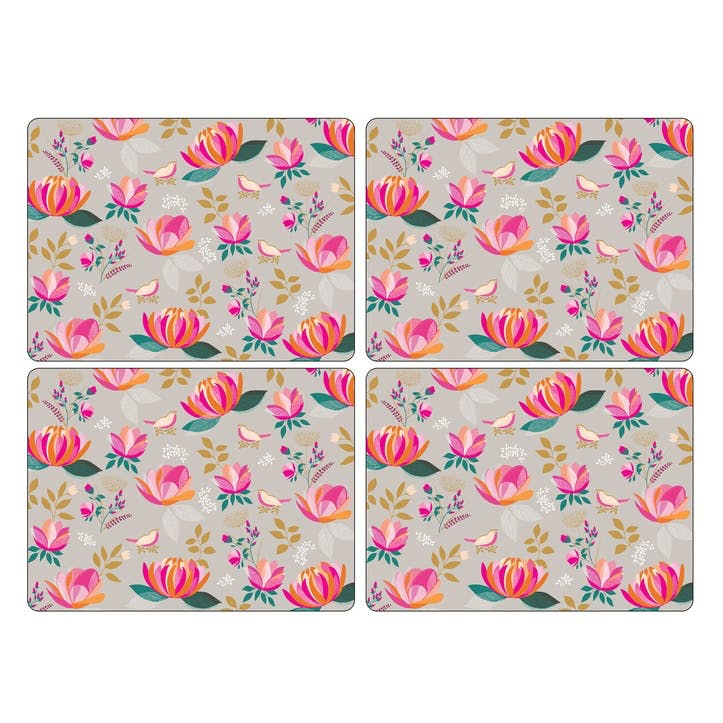 Peony Collection Large Placemats, Set of 4, Grey