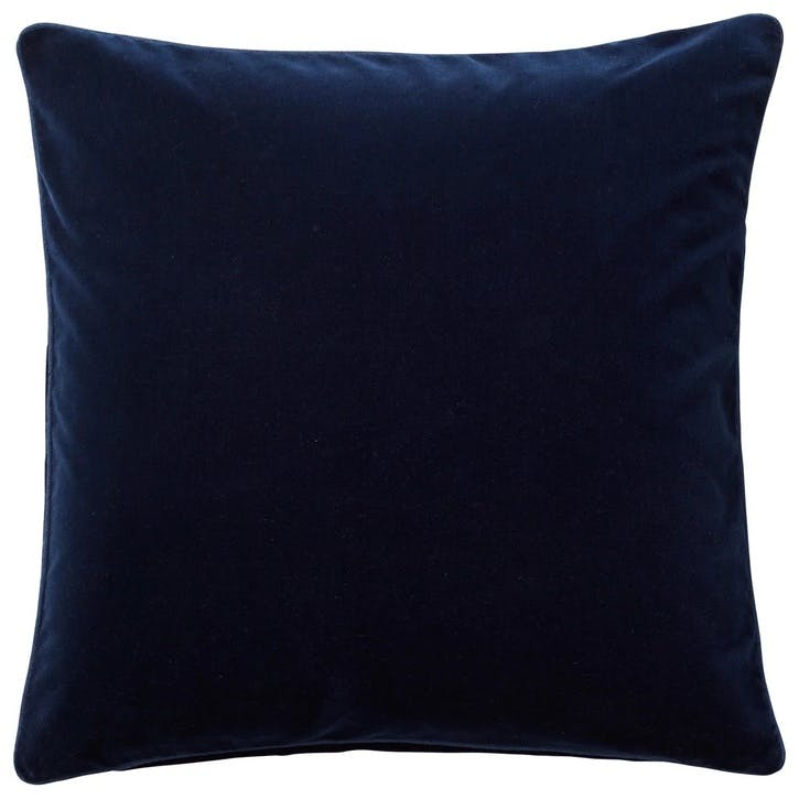 Plain Velvet Cushion, Perfect Navy