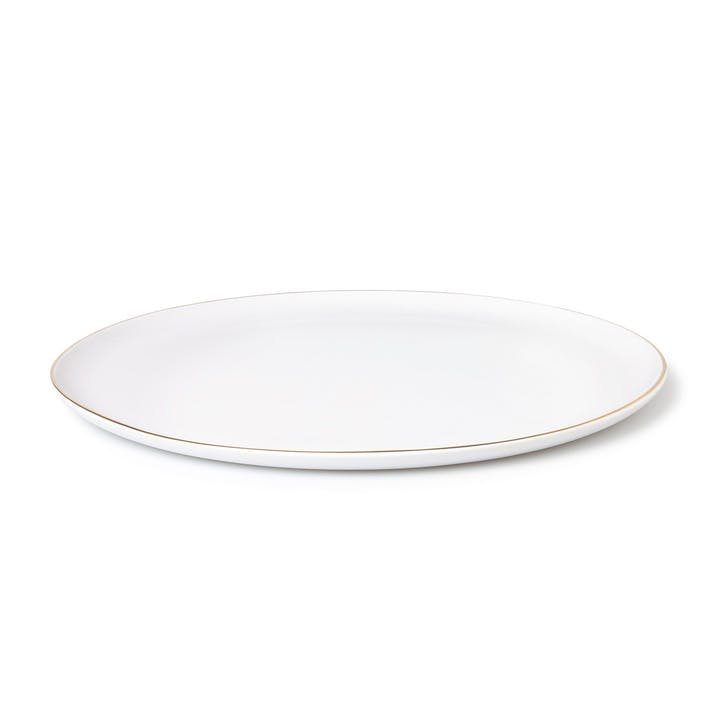 Seven Large Plate, White & Gold