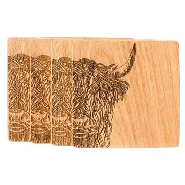 Highland Cow Veneer Coaster, Set of 4