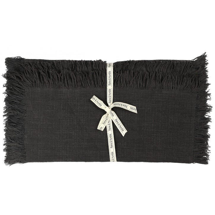 Jute Cotton Table Runner, Charcoal