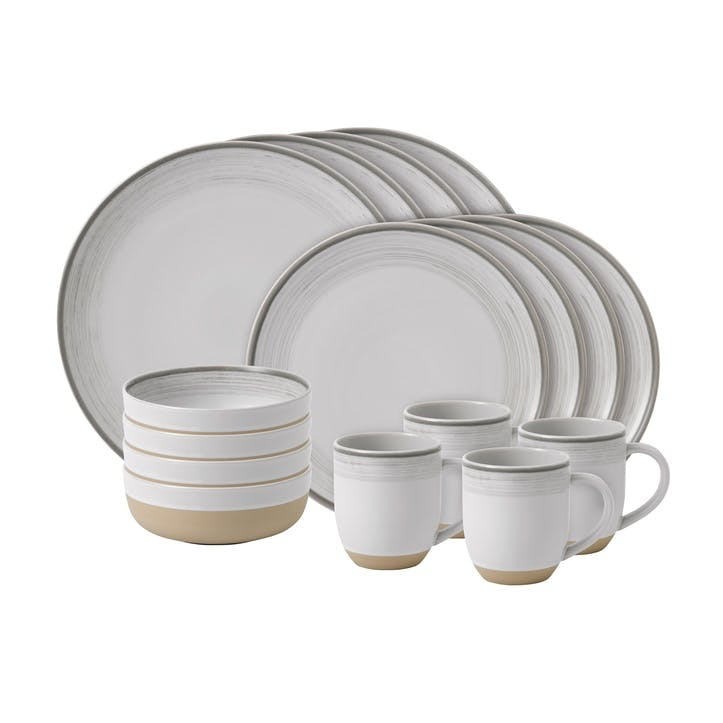 ED Ellen DeGeneres Brushed Glaze 16 Piece Dinner Set, White