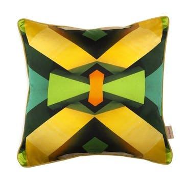 Green Blocks, Square Silk Cushion