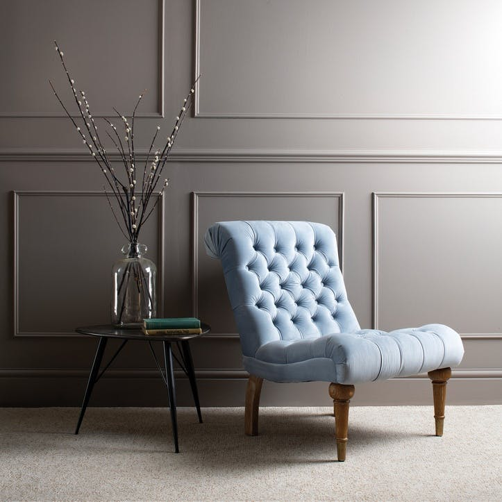 Buttoned Velvet Occasional Chair, Sky Blue