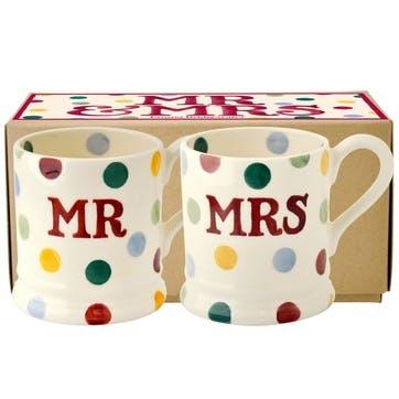 Polka Dot Mr & Mrs Set Of 2 Mugs Boxed, 1/2 Pint
