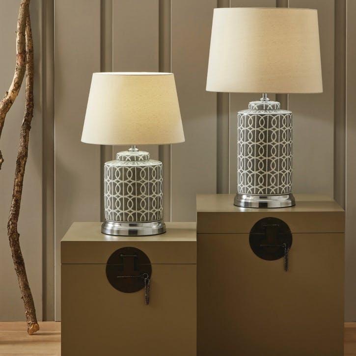 Aris Geo Pattern Table Lamp - Tall; Grey & White