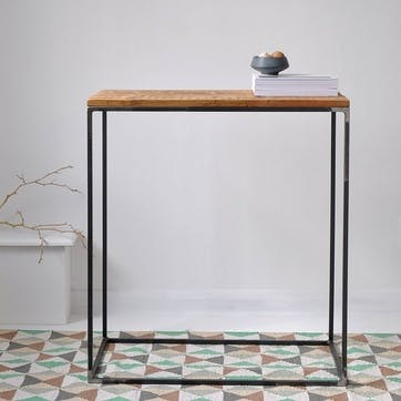 Oxford Wood And Steel Console Table - 72 x 65cm,; Natural