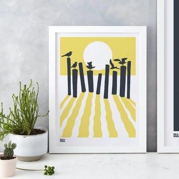 On The Beach Screen Print - 30 x 40cm; Pale Yellow