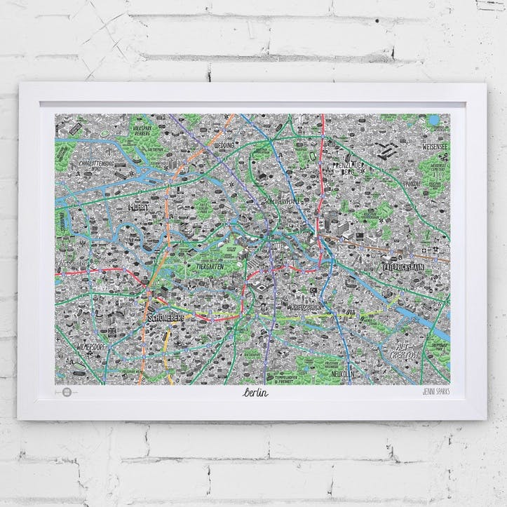 Map Hand Drawn of Berlin, 84cm x 59cm, Large