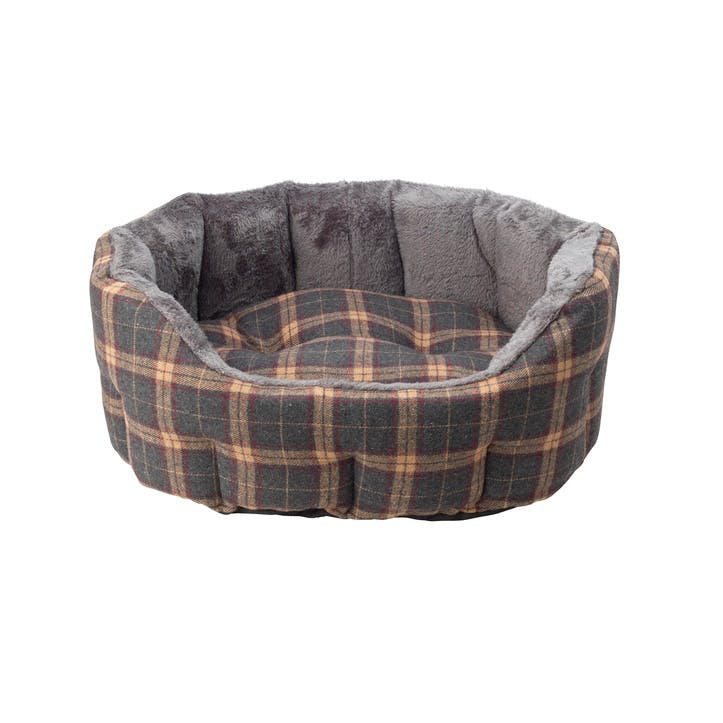 Check Tweed & Plush Oval Dog Bed, M