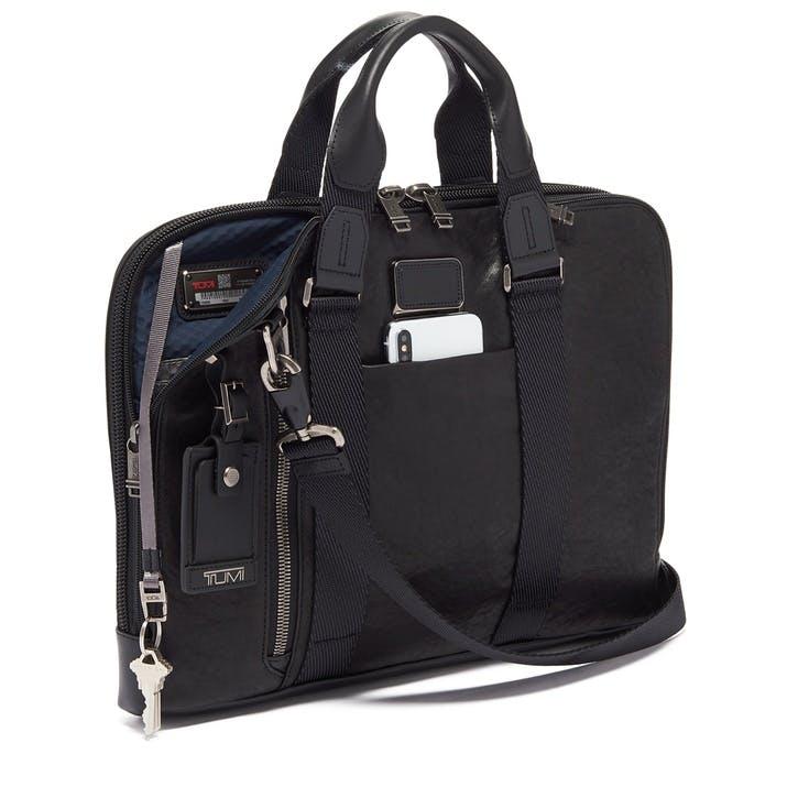 Alpha Bravo Aviano Slim Briefcase, Black