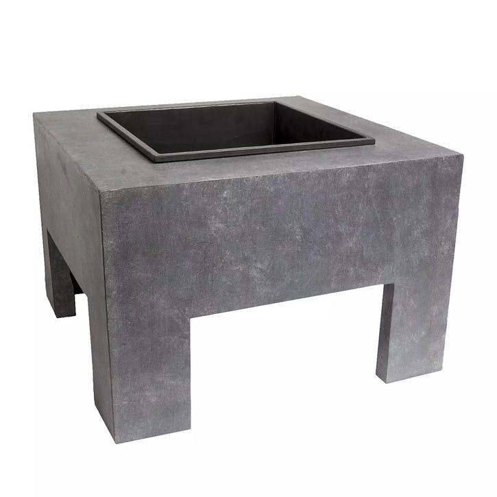 Outdoor Square Firebowl & Square Console, Cement