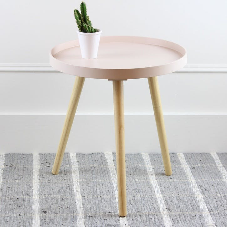 Halston Round Side Table, Large, Blush