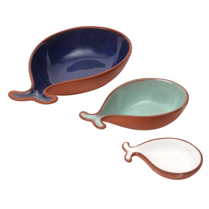 Terracotta Fish Tapas Dishes, Set of 3
